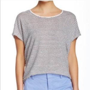 Vince 100% Cotton Striped Cocoon Short Sleeve Tee
